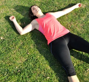woman on back exhausted