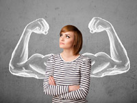 woman with cartoon muscle arms