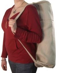 bean hemp yoga bag being carried on the shoulder