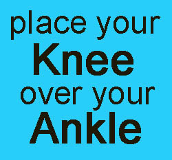 text saying place your knee over your ankle