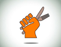 orange fist holding knife and fork