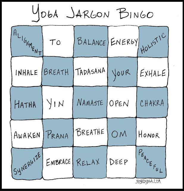 yoga jargon bingo card