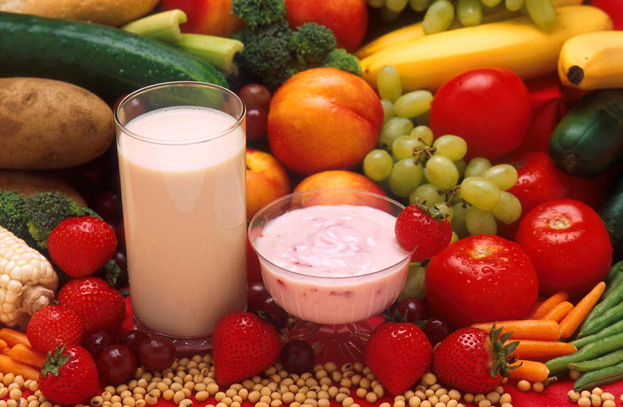 fruits-vegetables-milk-and-yogurt for breakfast