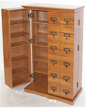 honey oak tea cabinet door open
