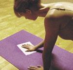 jo-sha yoga mat wipes in use