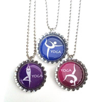 yoga bottle cap necklaces