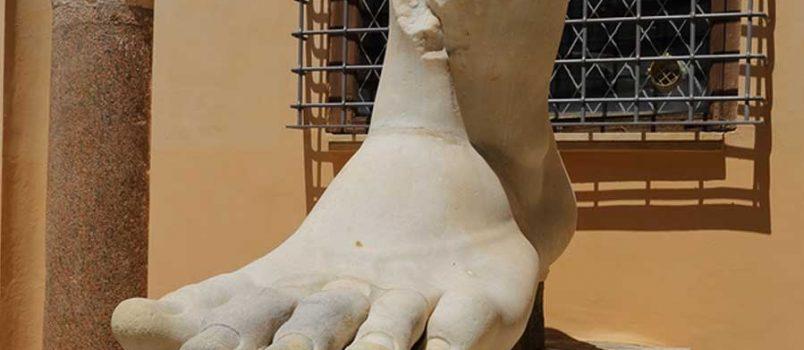 Left foot statue
